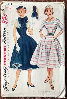 Simplicity 1950's Dress Pattern 3803 Detachable Cape