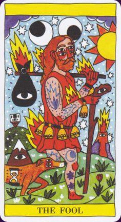 Heeheeheehee, it looks like funny eyeballs over his head! Tarot-del-Fuego-1