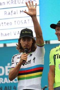 #TdF2016 World Champion Peter Sagan of Slovakia riding for Tinkoff talks on stage during the team presentation ahead of the 2016 Le Tour de France on June 30, 2016 in Sainte-Mere-Eglise, France.
