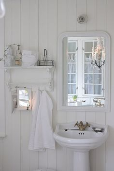 Simple Shabby Chic Bathroom - via Faded White Linen: Occasional Happenings