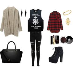 Rock afternoon by konaki on Polyvore featuring Rebecca Minkoff, UNIF, Madewell, Miss Selfridge, Speed Limit 98, MICHAEL Michael Kors, Movado, Cachet, Oasis and Chanel