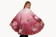 Shawl, cape Pink Garden embroidered with fabric flowers and decorated with glass beads. $250.00, via Etsy.