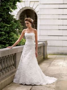 A-line Strapless Lace Satin Chapel Train White Beading Wedding Dresses -$238.79
