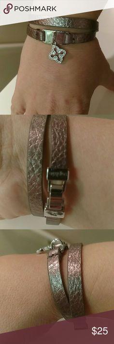 Wrap bracelet Lia Sophia copper leather wrap bracelet with silver crystal dangle. Silver clasp. Lia Sophia Jewelry Bracelets