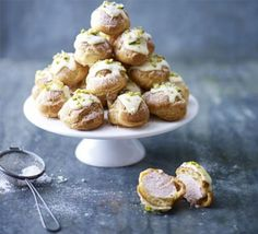Raspberry, white chocolate & pistachio profiteroles