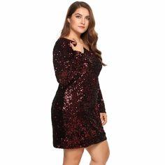 Plus Size Women Retro Sequin Autumn Dress Long Sleeve Bodycon Party Club  Dresses 731233964532