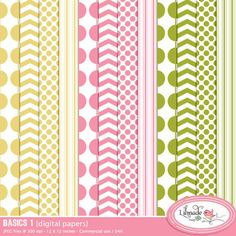Back to basics digital papers set comes with 12 full size digital scrapbook papers featuring trendy polka dot, chevron, vertical line and bead patterns in pink, yellow and green. SIZE 12 x 12 inches. LICENSE: Commercial u Digital Scrapbook Paper, Digital Papers, Paper Background, Background Patterns, Dots, Polka Dot, Printable Paper, Scrapbook Supplies, Planner Stickers