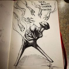 The Art of Shawn Coss — Social Anxiety Disorder - day 9 of #inktober...