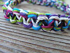 Multicolored  Woven Hemp/Cotton Bracelet  5 por HKMacrameJewelry