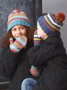 Basic Hat and Mittens 4 Needles | Yarn | Free Knitting Patterns | Crochet Patterns | Yarnspirations