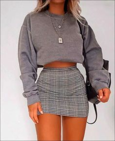 High Waist Slim Plaid Bag Hip Skirt Source by fashion outfits Retro Outfits, Girly Outfits, Dressy Outfits, Vintage Outfits, Cute Comfy Outfits, Stylish Outfits, Cute Outfits With Skirts, Classy School Outfits, Nice Outfits