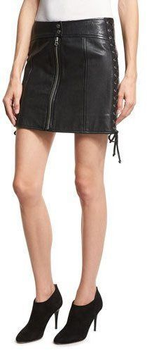 McQ Laced Paneled Leather Mini Skirt, Black