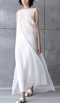 Art Embroidered White Simple Long Dress Summer Women Dress Q295A White Linen Dresses, Cotton Dresses, White Dress, Long Summer Dresses, Dress Summer, Simple Long Dress, Chiffon Dress, Clothes For Women, Art