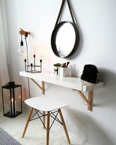 If you need a vanity unit or small dressing table in your bedroom, fitting a flo. If you need a vanity unit or small dressing table in your bedroom, fitting a floating shelf is an e Simple Dressing Table, Dressing Table Design, Dressing Tables, Bedroom Dressing Table, Bed Dressing, Vanity Shelves, Shelf Desk, Window Shelves, Mirror Vanity