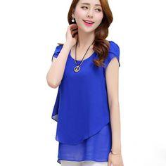 Chiffon Blouse Summer 2017 New Fashion Korean Style O-neck Loose Shirt Women Tops Short Sleeve Plus Size Female Clothing LU287 #Affiliate