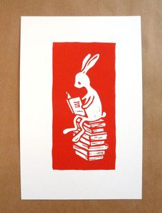 Reading a book  original linocut art print  nursery by puikeprent on Etsy.
