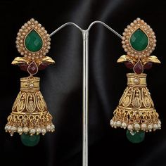 #Green and #Maroon Stone Studded #Earring @ $91.80 | Shop Now @ http://www.utsavfashion.com/store/item.aspx?icode=jdc2