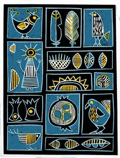 The Old Cells Studio – Michèle Brown Art: Little things – linocut plus painting The Old Cells Studio – Michèle Brown Kunst: Kleinigkeiten – Linolschnitt plus Malerei Arte Tribal, Tribal Art, Art Marron, Linocut Prints, Art Prints, Afrique Art, Scandinavian Folk Art, Art Premier, Indian Folk Art
