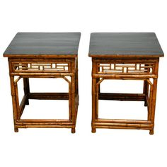 Pair of Chinese Bamboo and Black Lacquered Wood Side Tables | From a unique collection of antique and modern side tables at https://www.1stdibs.com/furniture/tables/side-tables/