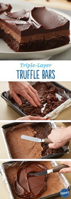 Triple-Layer Truffle Bars: These rich, decadent chocolate layer bars totally stack up.
