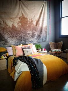 Cute idea for a bed frame...use a sheet. (Soft furnishings by Ponyrider)