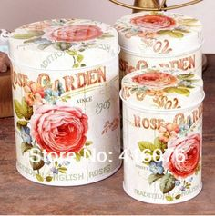 New Arrival! 3pcs/lot Full Blooming Red Rose Design Round Shape Tin Storage Box Metal Candy Box Cookie Jar $13.50