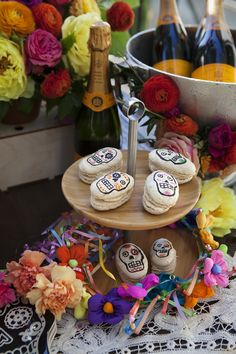 Skull macarons from Our Dia de los Muertos Menu | Camille Styles #ClicquotDia
