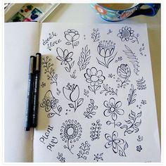 doodle quirky flowers flower leaves doodles journal floatinglemons doodling having
