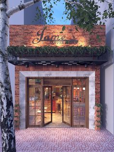 JAME'S COFFEE & SHOP Design by me ! all three elements I want, the plants brick and white marble - Cafe Shop Design, Restaurant Interior Design, Shop Front Design, Shop Interior Design, Bistro Interior, Small Restaurant Design, Small Cafe Design, House Design, Cafe Exterior