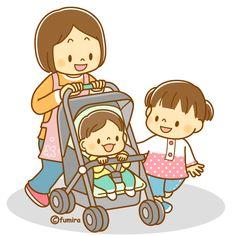 ベビーカーに乗る赤ちゃんと親子のイラスト(ソフト)