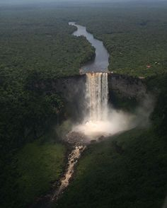 """. Photograph by @ (Kayetur Falls, Guyana). waterfalls such rakursa .Na (CODY AN). #waterfalls #Nnature #Forest #Trees"""