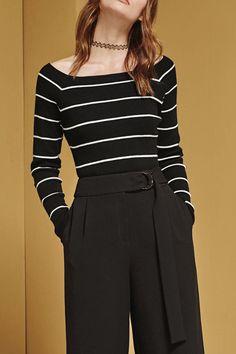 Striped Slash Neck Knitwear