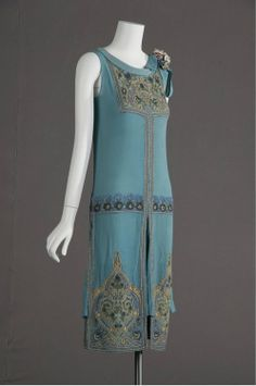 Silk crepe wedding dress embroidered with glass beads and metallic thread 1927