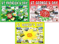 *BUNDLE* 3 SETS OF CELEBRATIONS RESOURCES - ST PATRICK'S DAY, ST GEORGE'S DAY AND ST DAVID'S DAY