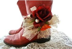 Boot bracelet, Red rose, cowboy boot sash, Boho Boot bling, Romantic shabby accessories, flower boot, Christmas Red, true rebel clothing