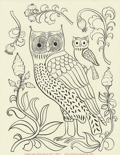 Free owl embroidery pattern.