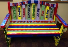 Buddy Bench: Kids sit on bench during recess if they would like someone to ask them to play. Promotes inclusion and empathy.