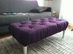 creative space: DIY Ottoman from coffee table.