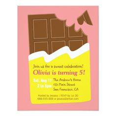 Sweet Chocolate Bar Candy Birthday Party Card