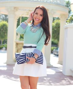 StylishPetite.com | Mint, Gingham and Stripes