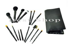 Lady De Professional 14Piece Cosmetic Brush Set with Leather Pouch Set of 14 Brushes and 1 Leather Pouch Black * Click on the image for additional details.