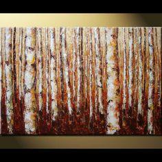 ELENA original 36x24 Birches trees landscape acrylic by artpower, $260.00