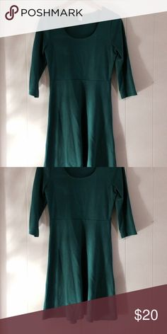 Kelly green dress Beautiful, matches with a lot. Statement dress. Kelly green (photo does not reflex color well) crop sleeves. Knee length. Thick material so great winter dress. Small belt holes on sides Old Navy Dresses