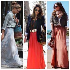 Falda larga, tendencia, outfits 2014/2015