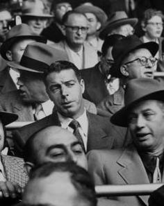 DiMaggio in the stands after retirement. Yankees / Dodgers WS 1952