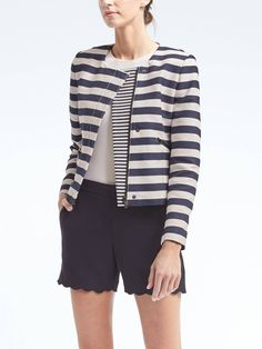 Stripe Crop Moto Jacket | Banana Republic | $168