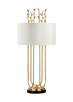Graceful yet full of impact, this table lamp is crafted of iron with a gold-leaf finish, black marble base, and white silk-like shade. Luxury Table Lamps, Unique Table Lamps, Contemporary Table Lamps, Brass Table Lamps, Gold Lamps, Lampe Art Deco, White Table Lamp, Gold Table, Stained Glass Lamps