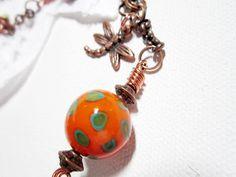 Lariat Necklace Copper Orange Bead Necklace by LittleBitsOFaith, $25.00