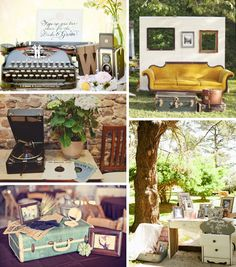 Reception decor ideas...really like the couch and open frame picture station featured on the top right. :)