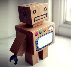 Robot Party ⚜ Build Your Own Cardboard Robot Paper Toy - by Bryn Jones Paper Robot, Cardboard Robot, Cardboard Box Crafts, Paper Toys, Paper Crafts, Robot Crafts, Maker Fun Factory Vbs, Box Robot, Build A Robot